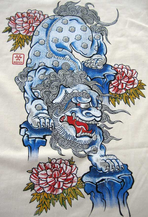okinawa japanese shisa lion ronin t shirt s cream bnwt. Black Bedroom Furniture Sets. Home Design Ideas
