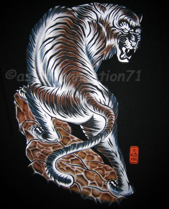 TORA TIGER New RONIN Japan Tattoo T-Shirt L Black BNWT!
